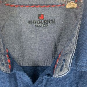 Woolrich Shirts - Woolrich long sleeve button down navy men's shirt